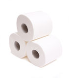 Rolls of toilet paper isolated on white Royalty Free Stock Image