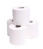 Rolls of toilet paper isolated on white Royalty Free Stock Images
