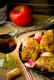 Rolls from a turkey with apples. Royalty Free Stock Photo