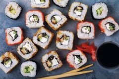 Rolls Unagi maki with cucumber, eel, sesame and red fish Stock Photo