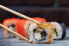 Rolls Unagi maki with cucumber, eel and sesame Stock Photo