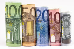 Rolls of various Euro Stock Photo