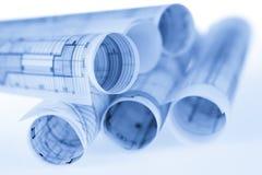 Rolls von Architekturplänen Lizenzfreie Stockbilder