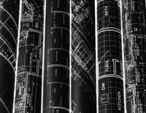 Rolls von Architekturplan- u. -hausplänen Hintergrund stockfoto