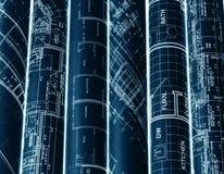 Rolls von Architekturplan- u. -hausplänen Hintergrund lizenzfreies stockfoto