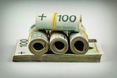 Rolls von Banknoten - polnischer Zloty Lizenzfreies Stockfoto