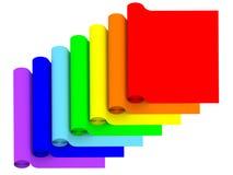 Rolls von den Regenbogenfarbmaterialien lokalisiert auf Weiß Lizenzfreie Stockbilder