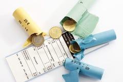 Rolls von sortierten Euromünzen Lizenzfreies Stockbild