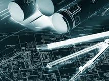 Rolls von Zeichnungsskizzen Arbeitsplatz des Architekten oder des Erbauers lizenzfreie stockbilder