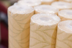 Rolls of wall-paper in a store Royalty Free Stock Photo