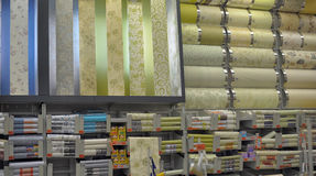 Rolls of wallpaper in the store Stock Photo