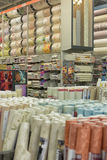 Rolls of wallpaper in the store Royalty Free Stock Photo