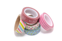 Rolls of Washi Tape isolated on white background. Royalty Free Stock Image
