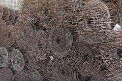 Rolls of wire mesh placed them in storage awaiting disposal. Stock Photography