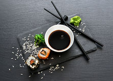 Rolls With Sauce And Chopsticks Royalty Free Stock Photography