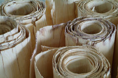 Rolls of wood veneer for plywood production Stock Photos