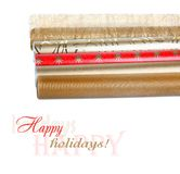 Rolls of wrapping paper with streamer for gifts Royalty Free Stock Photos
