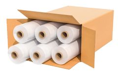 Rolls of wrapping plastic stretch films in cardboard box, 3D rendering. Rolls of wrapping plastic stretch films in cardboard box, 3D royalty free illustration