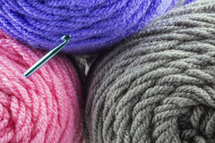 Rolls of Yarn and Hook Royalty Free Stock Images