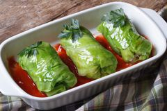 Rolls of young cabbage stuffed with rice and meat Stock Photo