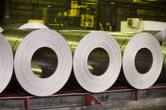 Rolls of zinc steel sheet Royalty Free Stock Image