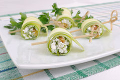 Rolls of zucchini with ricotta Royalty Free Stock Photography