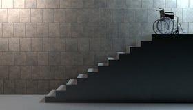 Rollstuhl auf Treppe Lizenzfreie Stockfotos