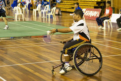 Rollstuhl-Badminton der Männer lizenzfreies stockfoto