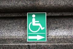 Rollstuhl-Handikap-Zeichen innerhalb des Tempels Wat Sothorn Wararam Thailand Lizenzfreies Stockfoto