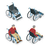 rollstuhl Mann im Rollstuhl Flache isometrische Illustration des Vektors 3d Internationaler Tag von Personen mit Lizenzfreie Stockbilder