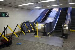 Rolltreppe an der Yankee Stadium-Station noch einmal außer Dienst lizenzfreies stockbild