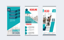 Rollup banner design with simple shapes for minimalistic company promotion.  Royalty Free Stock Photos