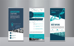 Rollup banner design with simple shapes for minimalistic company promotion.  Stock Image