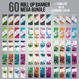 60 Bundle of 4 Different Color Business Roll Up. Standee Design. Banner Template. Presentation and Brochure. Vector illustration royalty free stock image