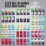 60 Bundle of 4 Different Color Business Roll Up. Standee Design. Banner Template. Presentation and Brochure. Vector illustration royalty free stock photography