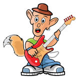 Rolly the fox guitarist Stock Images