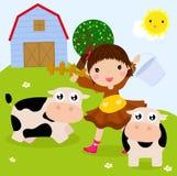 Rolna dziewczyna i krowy Obrazy Stock