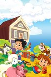 Rolna ilustracja dla dzieciaków - wiele różni elementy Zdjęcie Royalty Free