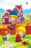Rolna ilustracja dla dzieciaków - wiele różni elementy Zdjęcia Royalty Free