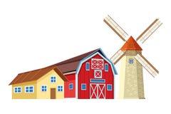 Rolna stajnia i wiatraczek ilustracji