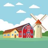 Rolna stajnia i wiatraczek ilustracja wektor