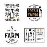 Rolne świeże dojne odznaki i logowie w roczniku projektują royalty ilustracja