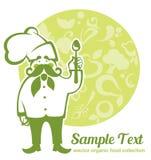 Rolni warzywa, owocowi wizerunki i kreskówka szef kuchni dla twój weganinu, ja Obraz Royalty Free