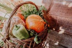 Rolni warzywa w koszu Jarzynowy świeży ogrodowy organicznie fotografia stock