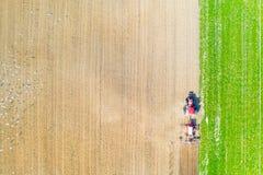 rolnictwa comcept Ciągnikowy uprawowy ziemi uprawnej anteny krajobraz Ptaki w polu obraz stock