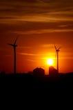rolnictwa gospodarstwa rolnego sylwetki wiatr Obraz Royalty Free