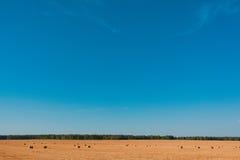 Rolnictwa haystack pole Fotografia Royalty Free