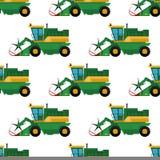 Rolnictwa rolnego wyposażenia tła maszynerii przemysłowi bezszwowi deseniowi ciągniki łączą i ekskawatory wektorowi royalty ilustracja