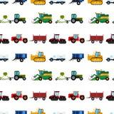 Rolnictwa rolnego wyposażenia tła maszynerii przemysłowi bezszwowi deseniowi ciągniki łączą i ekskawatory wektorowi ilustracji