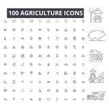 Rolnictwo editable kreskowe ikony, 100 wektorowi ustawiający na białym tle Rolnictwa czerni konturu ilustracje, znaki ilustracja wektor